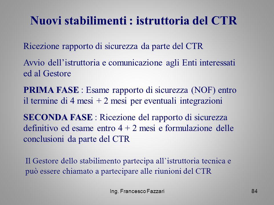 Nuovi stabilimenti : istruttoria del CTR