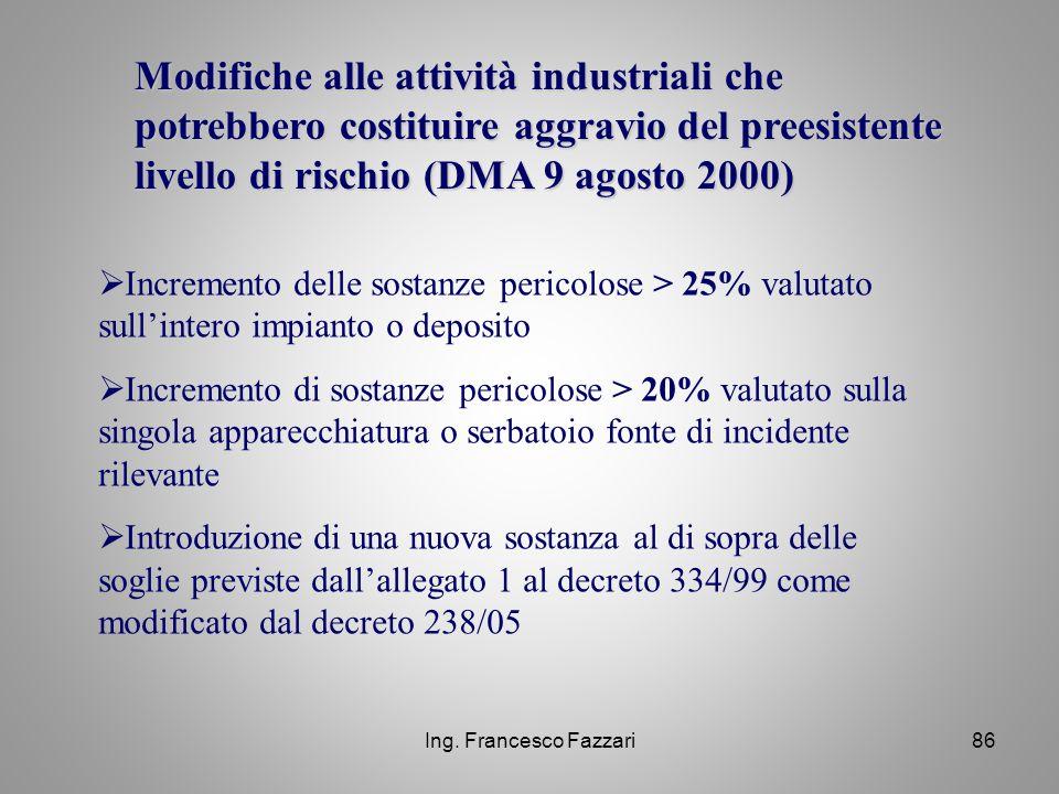 Modifiche alle attività industriali che potrebbero costituire aggravio del preesistente livello di rischio (DMA 9 agosto 2000)