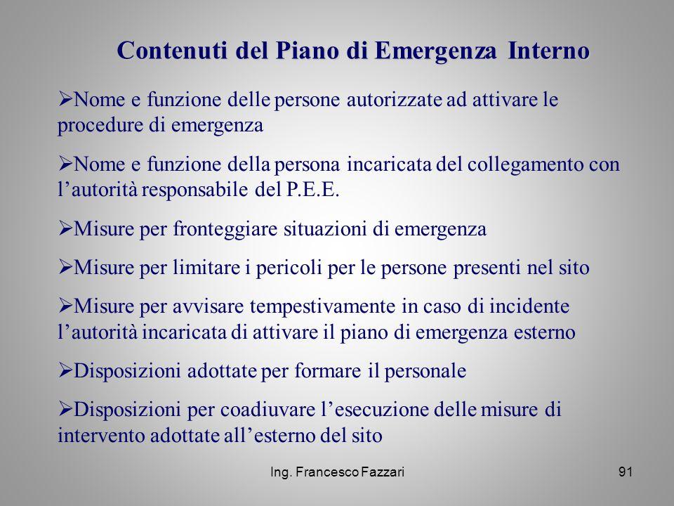 Contenuti del Piano di Emergenza Interno