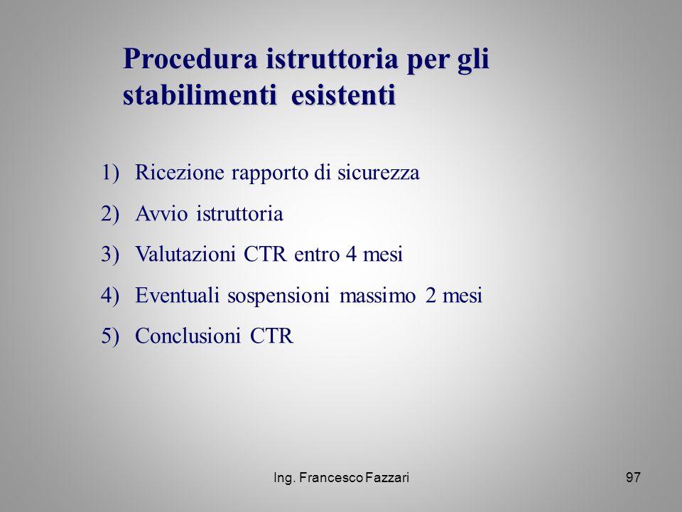 Procedura istruttoria per gli stabilimenti esistenti
