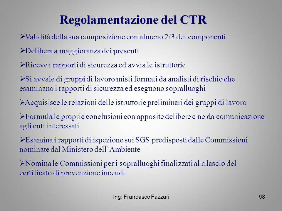 Regolamentazione del CTR