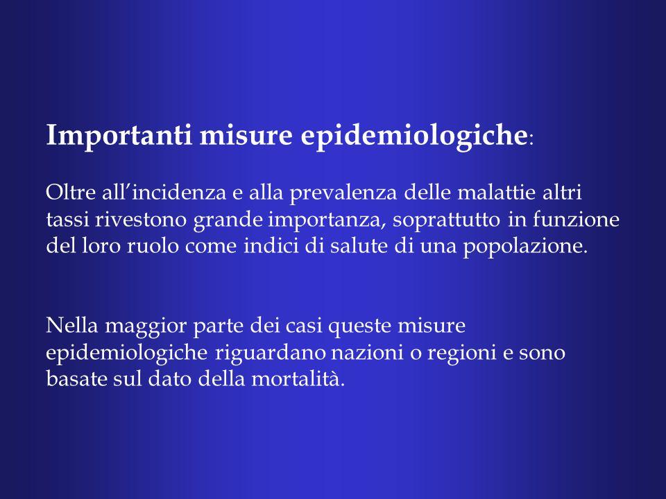 Importanti misure epidemiologiche: