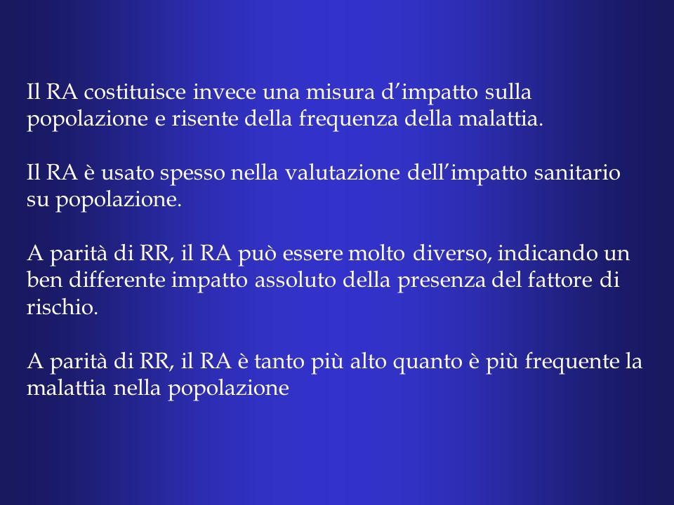 Il RA costituisce invece una misura d'impatto sulla popolazione e risente della frequenza della malattia.