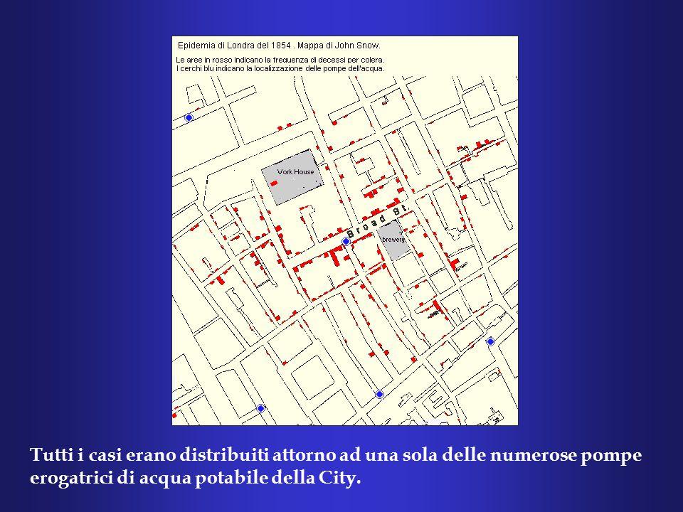 Tutti i casi erano distribuiti attorno ad una sola delle numerose pompe erogatrici di acqua potabile della City.
