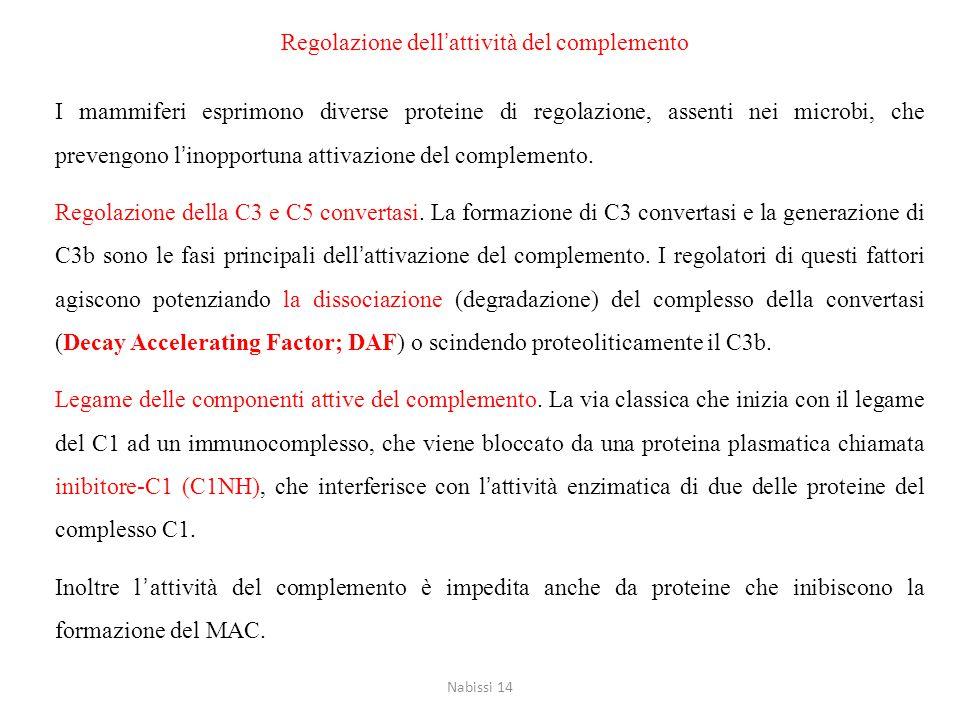 Regolazione dell'attività del complemento