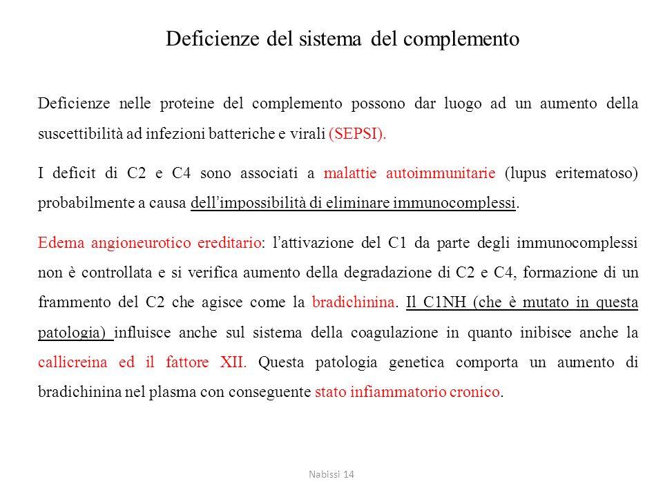 Deficienze del sistema del complemento