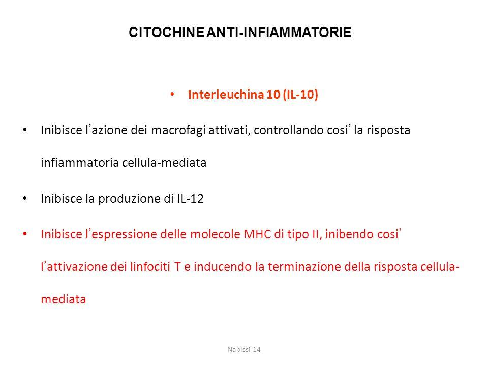 CITOCHINE ANTI-INFIAMMATORIE