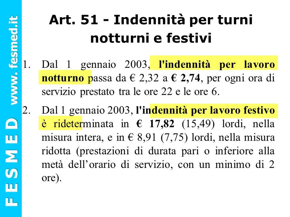 Art. 51 - Indennità per turni notturni e festivi