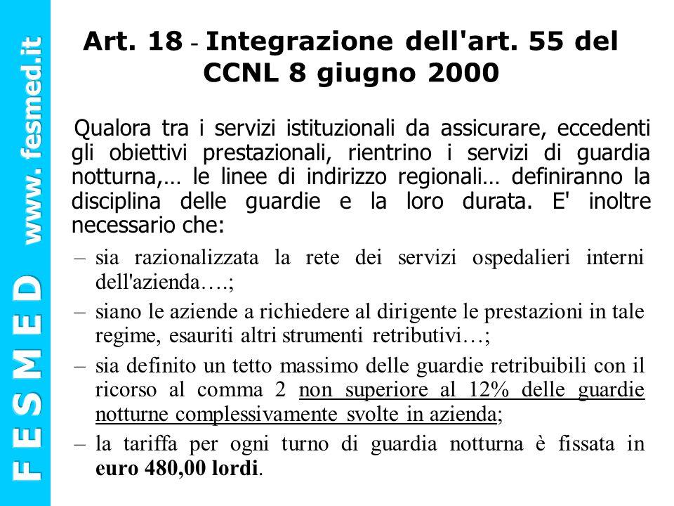 Art. 18 - Integrazione dell art. 55 del CCNL 8 giugno 2000