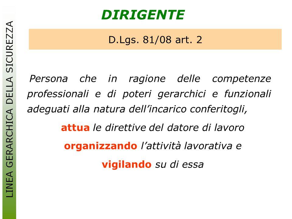 DIRIGENTE D.Lgs. 81/08 art. 2 attua le direttive del datore di lavoro