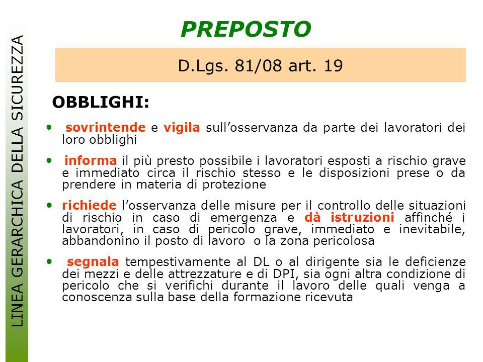 PREPOSTO OBBLIGHI: D.Lgs. 81/08 art. 19