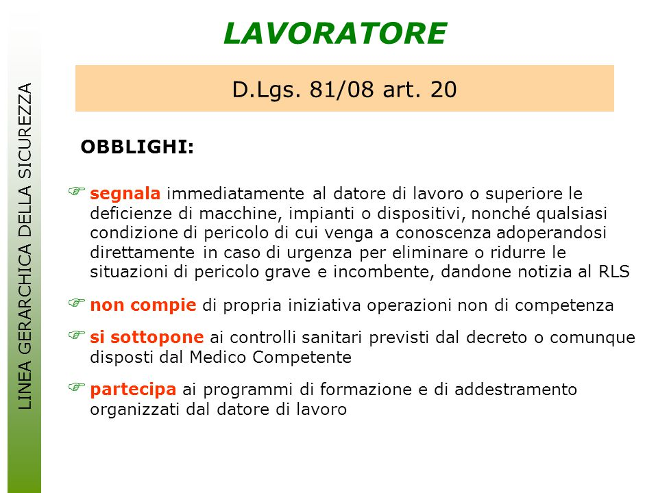 OBBLIGHI: LAVORATORE D.Lgs. 81/08 art. 20