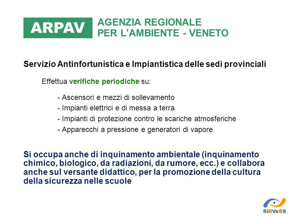 ARPAV AGENZIA REGIONALE PER L'AMBIENTE - VENETO. Servizio Antinfortunistica e Impiantistica delle sedi provinciali.
