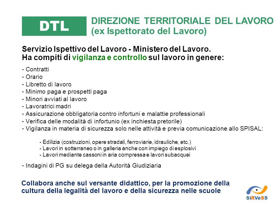 DTL DIREZIONE TERRITORIALE DEL LAVORO (ex Ispettorato del Lavoro)