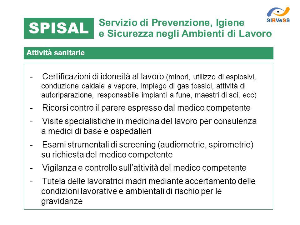 SiRVeSS SPISAL. Servizio di Prevenzione, Igiene e Sicurezza negli Ambienti di Lavoro. Attività sanitarie.