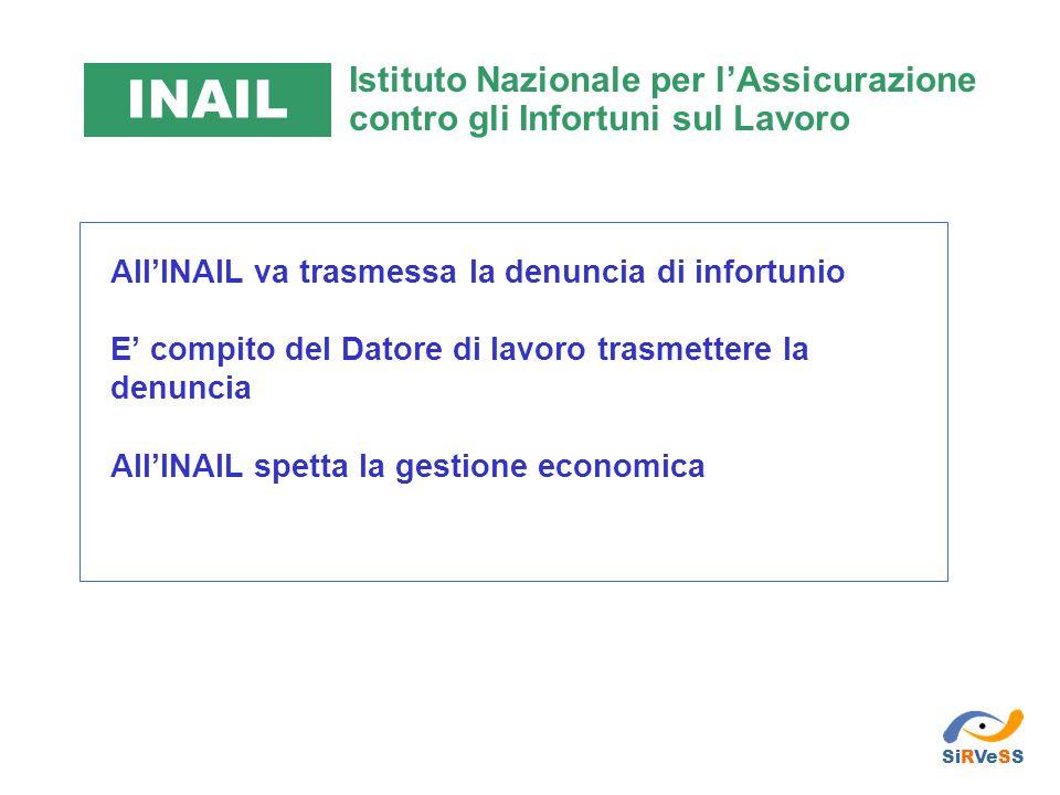 INAIL Istituto Nazionale per l'Assicurazione contro gli Infortuni sul Lavoro. All'INAIL va trasmessa la denuncia di infortunio.