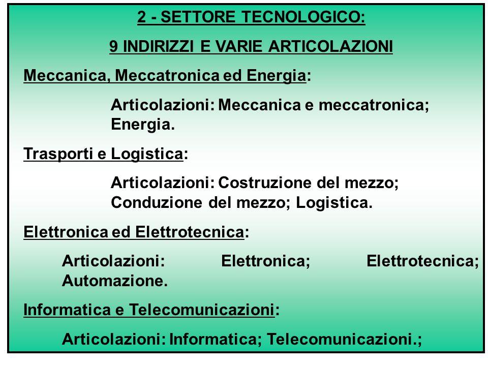 2 - SETTORE TECNOLOGICO: 9 INDIRIZZI E VARIE ARTICOLAZIONI