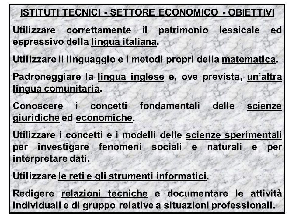 ISTITUTI TECNICI - SETTORE ECONOMICO - OBIETTIVI