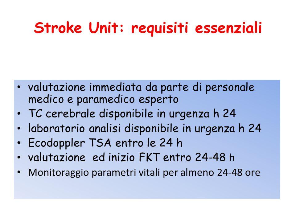 Stroke Unit: requisiti essenziali