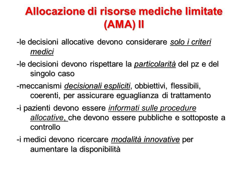 Allocazione di risorse mediche limitate (AMA) II