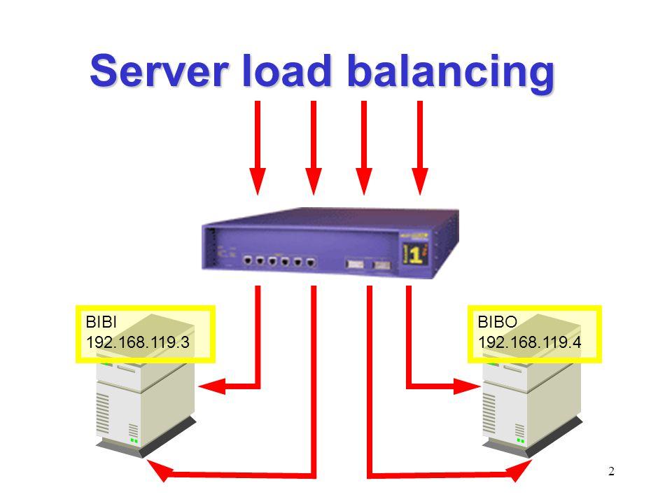 Server load balancing BIBI 192.168.119.3 BIBO 192.168.119.4