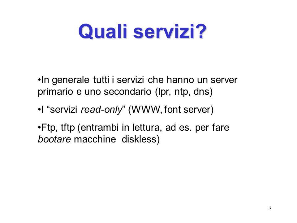 Quali servizi In generale tutti i servizi che hanno un server primario e uno secondario (lpr, ntp, dns)