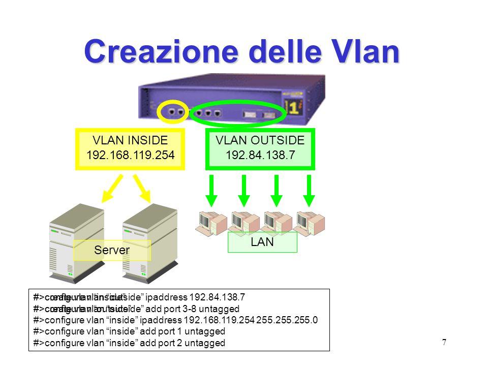 Creazione delle Vlan VLAN INSIDE 192.168.119.254