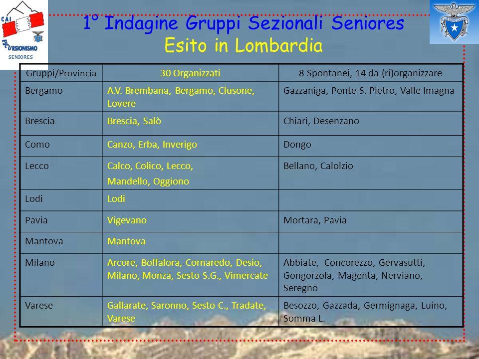 1° Indagine Gruppi Sezionali Seniores Esito in Lombardia