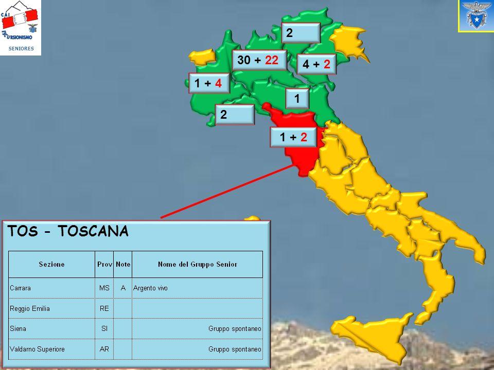 SENIORES 2 30 + 22 4 + 2 1 + 4 1 2 1 + 2 TOS - TOSCANA