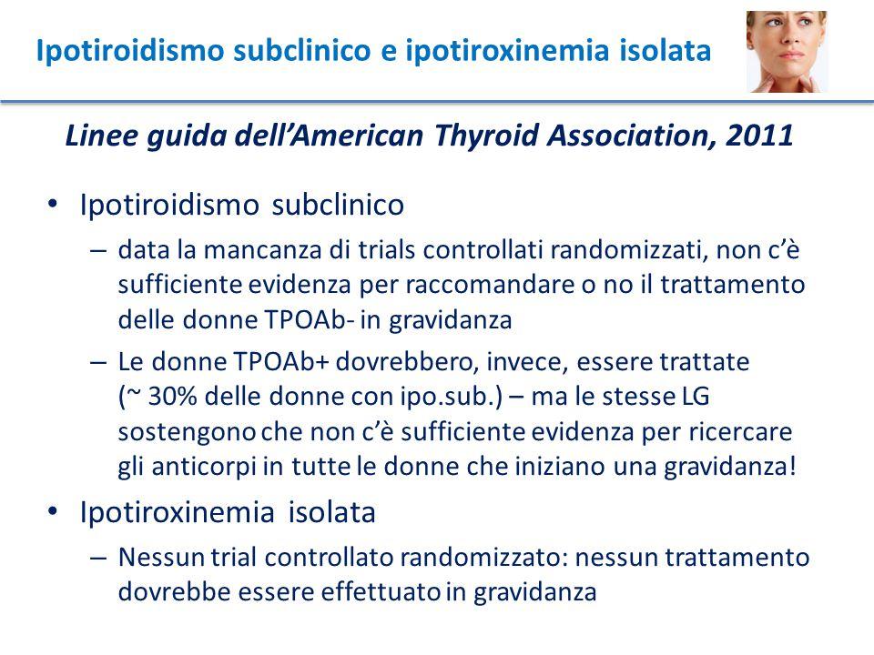 Ipotiroidismo subclinico e ipotiroxinemia isolata
