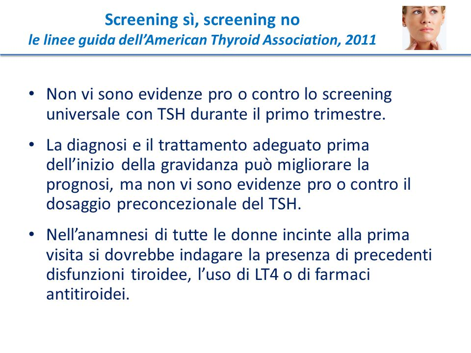 Screening sì, screening no le linee guida dell'American Thyroid Association, 2011