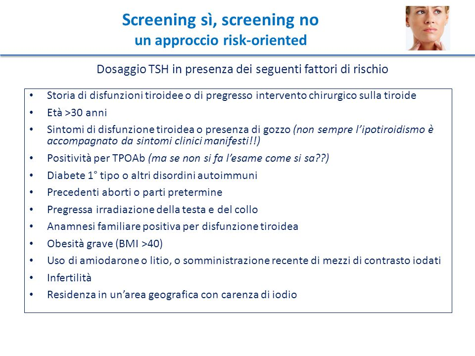 Screening sì, screening no un approccio risk-oriented