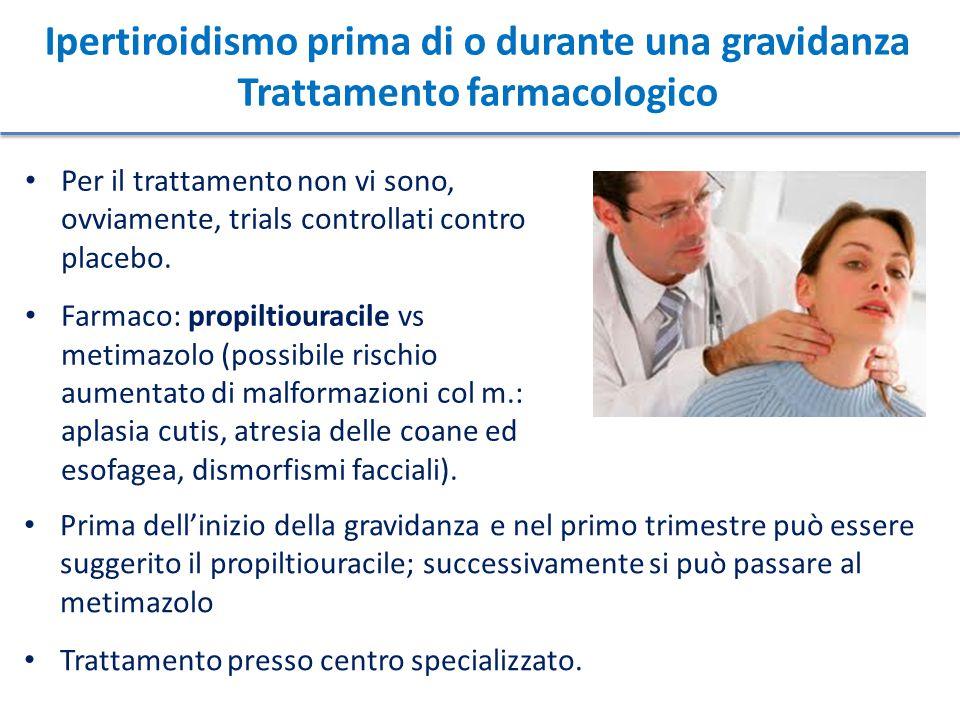 Ipertiroidismo prima di o durante una gravidanza Trattamento farmacologico
