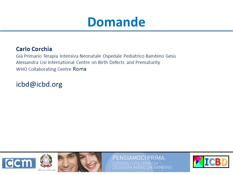 Domande icbd@icbd.org Carlo Corchia