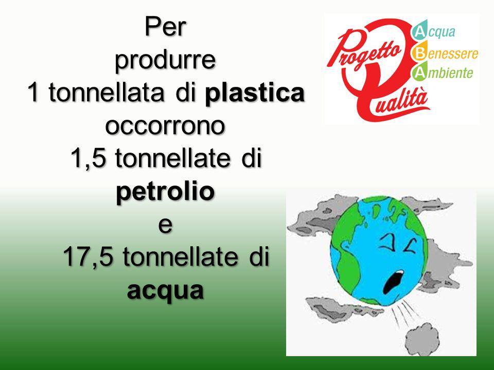1 tonnellata di plastica occorrono 1,5 tonnellate di petrolio e