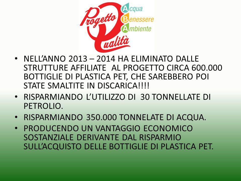 NELL'ANNO 2013 – 2014 HA ELIMINATO DALLE STRUTTURE AFFILIATE AL PROGETTO CIRCA 600.000 BOTTIGLIE DI PLASTICA PET, CHE SAREBBERO POI STATE SMALTITE IN DISCARICA!!!!