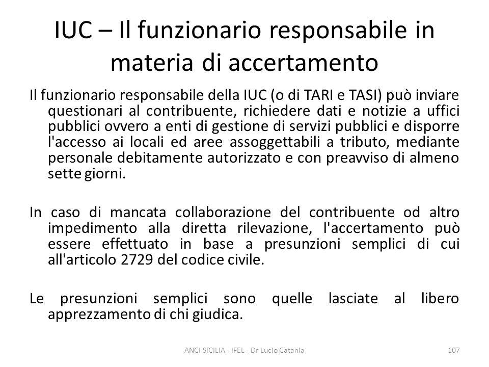 IUC – Il funzionario responsabile in materia di accertamento