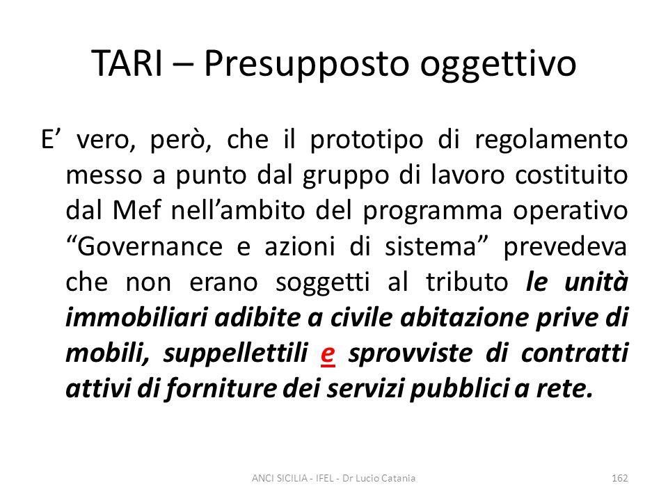 TARI – Presupposto oggettivo