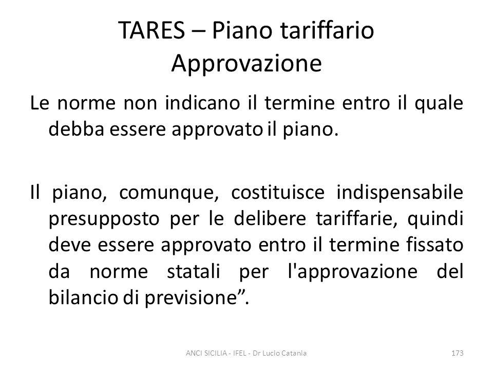 TARES – Piano tariffario Approvazione