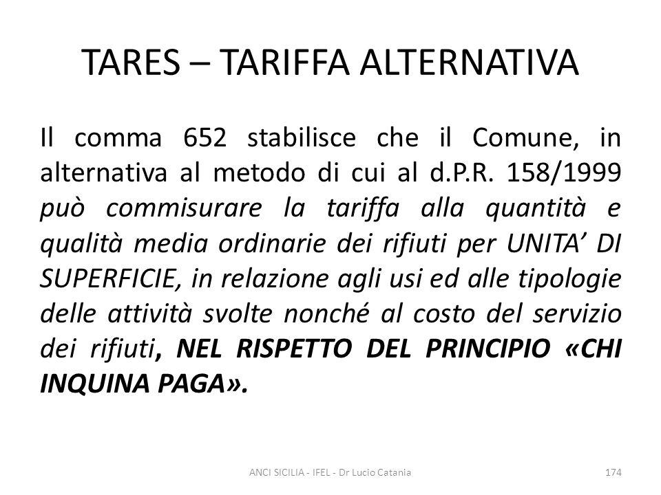 TARES – TARIFFA ALTERNATIVA