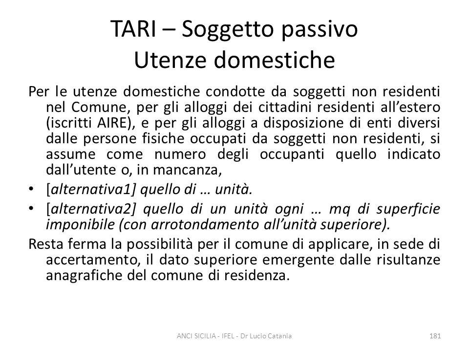 TARI – Soggetto passivo Utenze domestiche