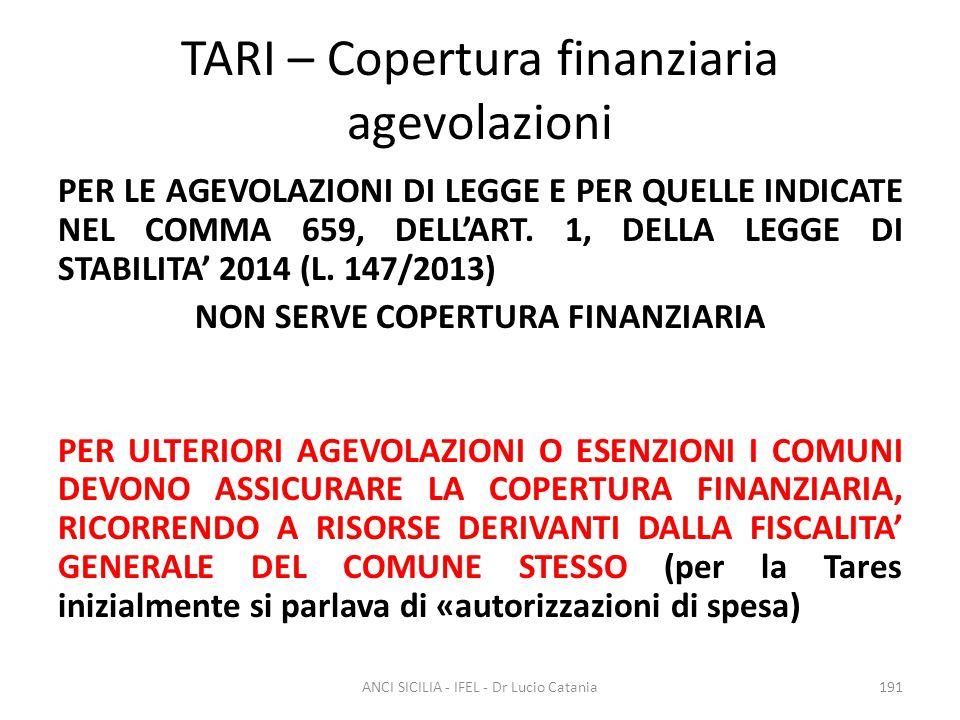 TARI – Copertura finanziaria agevolazioni