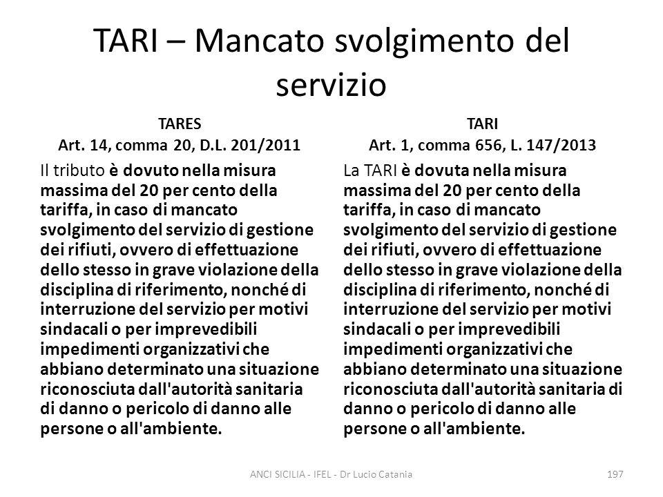 TARI – Mancato svolgimento del servizio
