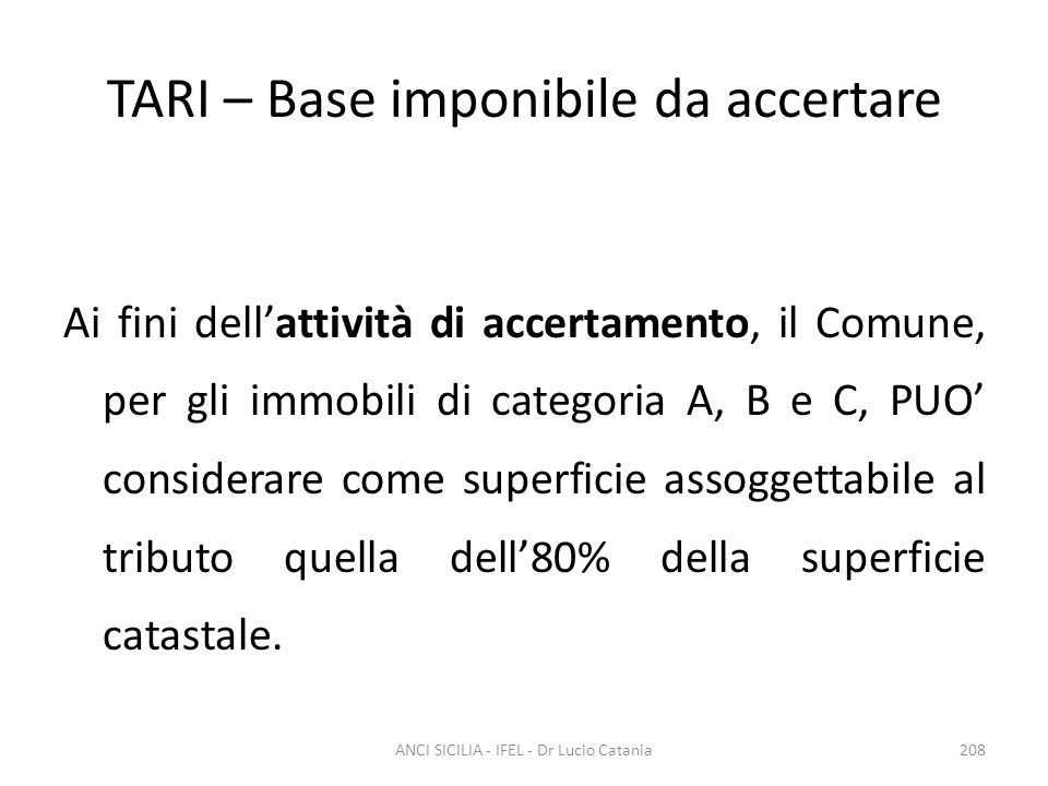 TARI – Base imponibile da accertare