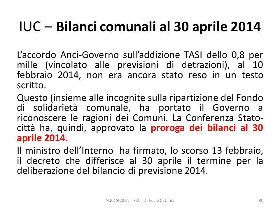 IUC – Bilanci comunali al 30 aprile 2014