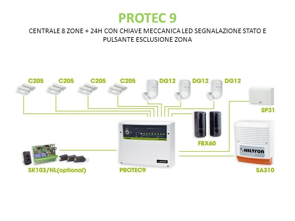 PROTEC 9 CENTRALE 8 ZONE + 24H CON CHIAVE MECCANICA LED SEGNALAZIONE STATO E PULSANTE ESCLUSIONE ZONA