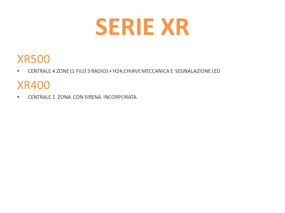 SERIE XR XR500. CENTRALE 4 ZONE (1 FILO 3 RADIO) + H24,CHIAVE MECCANICA E SEGNALAZIONE LED. XR400.
