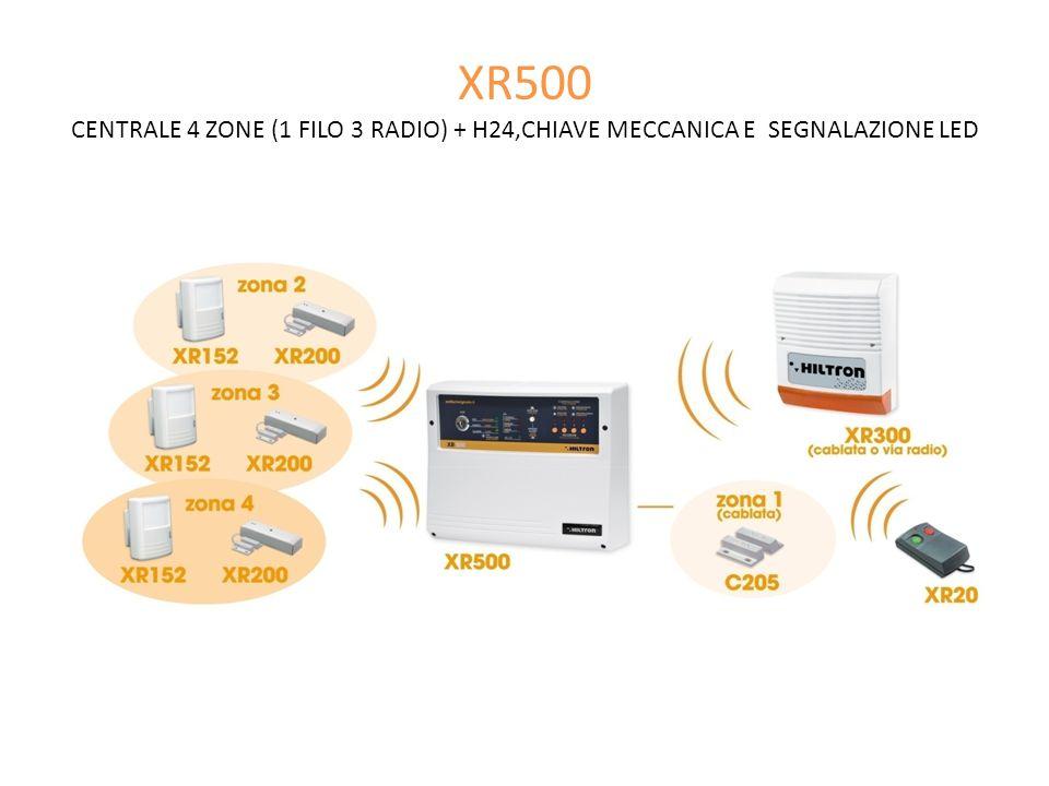 XR500 CENTRALE 4 ZONE (1 FILO 3 RADIO) + H24,CHIAVE MECCANICA E SEGNALAZIONE LED