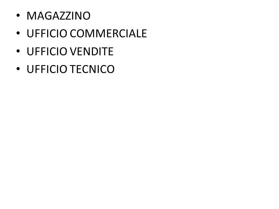 MAGAZZINO UFFICIO COMMERCIALE UFFICIO VENDITE UFFICIO TECNICO