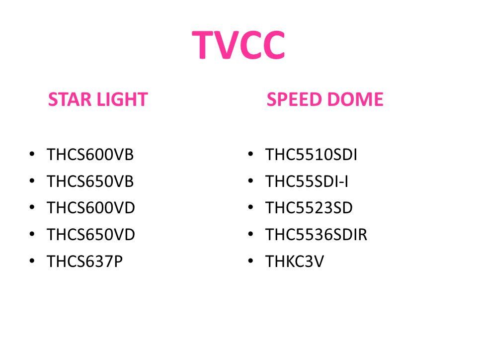 TVCC STAR LIGHT SPEED DOME THCS600VB THCS650VB THCS600VD THCS650VD